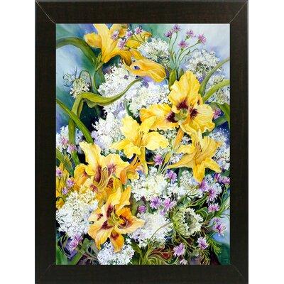 'Wild Flowers And Daylilies' Print Format: Brazilian Walnut Wood Medium Framed Paper