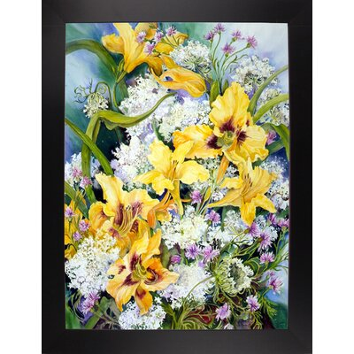 'Wild Flowers And Daylilies' Print Format: Black Wood Large Framed Paper