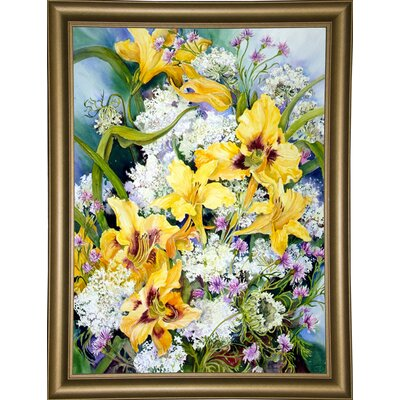 'Wild Flowers And Daylilies' Print Format: Bistro Gold Framed Paper