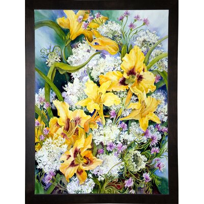 'Wild Flowers And Daylilies' Print Format: Cafe Espresso Wood Framed Paper