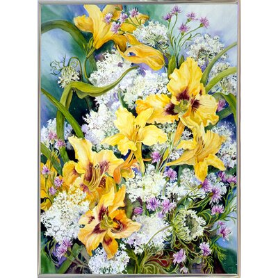 'Wild Flowers And Daylilies' Print Format: Silver Metal Framed