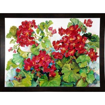'Deep Red Geraniums' Print Format: Black Wood Medium Framed Paper