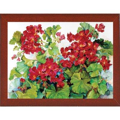 'Deep Red Geraniums' Print Format: Red Mahogany Wood Medium Framed Paper