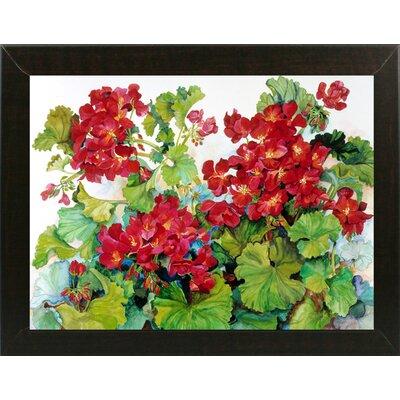 'Deep Red Geraniums' Print Format: Brazilian Walnut Wood Medium Framed Paper