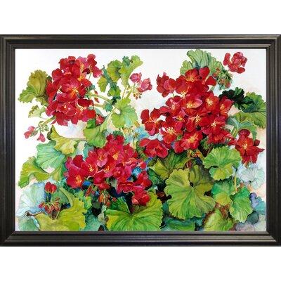 'Deep Red Geraniums' Print Format: Black Wood Grande Framed Paper