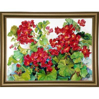 'Deep Red Geraniums' Print Format: Bistro Gold Framed Paper