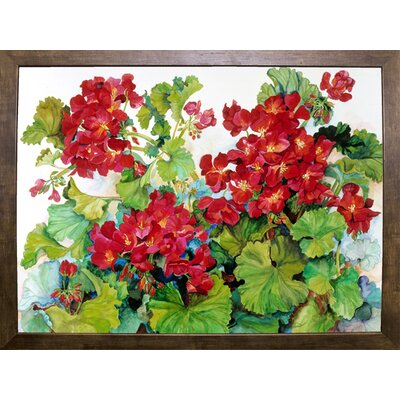 'Deep Red Geraniums' Print Format: Cafe Mocha Framed Paper