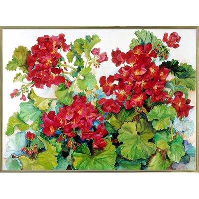 'Deep Red Geraniums' Print Format: Gold Metal Framed Paper