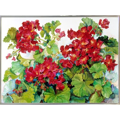 'Deep Red Geraniums' Print Format: Silver Metal Framed Paper