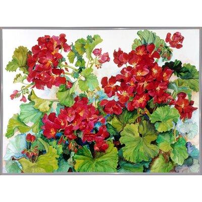 'Deep Red Geraniums' Print Format: White Metal Framed Paper