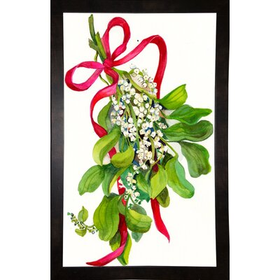 'Mistletoe With Red Ribbon' Print Format: Black Wood Medium Framed Paper THDA6850 43346337