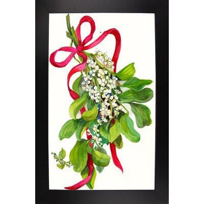 'Mistletoe With Red Ribbon' Print Format: Black Wood Large Framed Paper THDA6850 43346339
