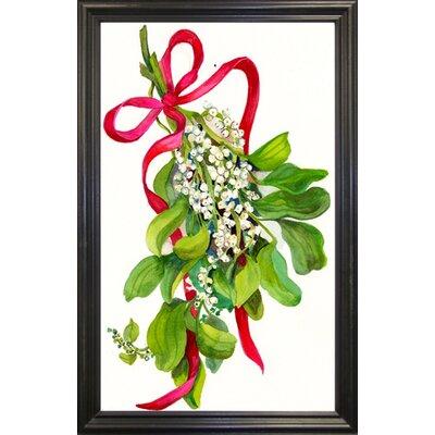 'Mistletoe With Red Ribbon' Print Format: Black Wood Grande Framed Paper THDA6850 43346351