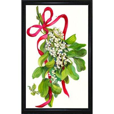 'Mistletoe With Red Ribbon' Print Format: Black Metal Flat Framed Paper THDA6850 43346343