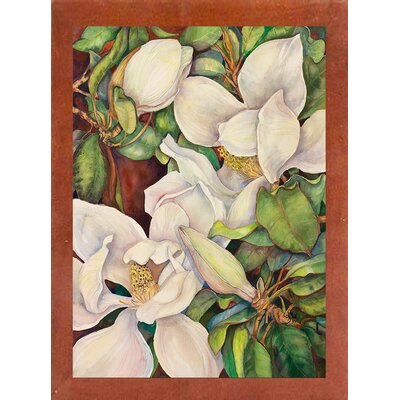 'Georgia Magnolias' Graphic Art Print Format: Canadian Walnut Wood Medium Framed Paper