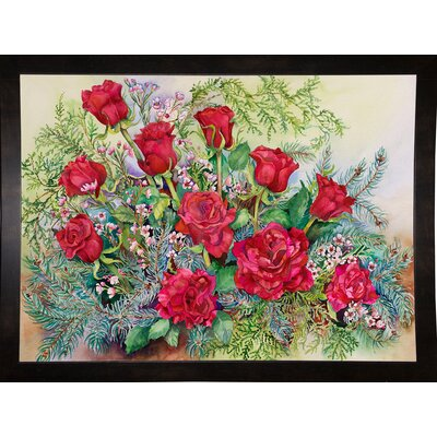 'Red Roses With Evergreens' Print Format: Black Wood Medium Framed Paper AGTG4871 43345129
