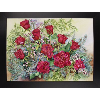 'Red Roses With Evergreens' Print Format: Black Wood Large Framed Paper AGTG4871 43345133
