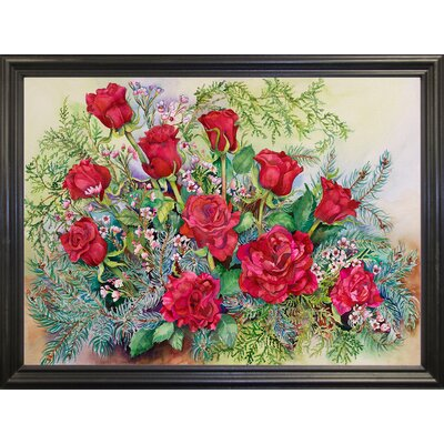 'Red Roses With Evergreens' Print Format: Black Wood Grande Framed Paper AGTG4871 43345123