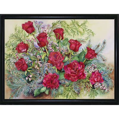 'Red Roses With Evergreens' Print Format: Black Metal Flat Framed Paper AGTG4871 43345126