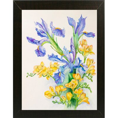 'Iris With Gold Fuscia' Print Format: Brazilian Walnut Wood Medium Framed Paper