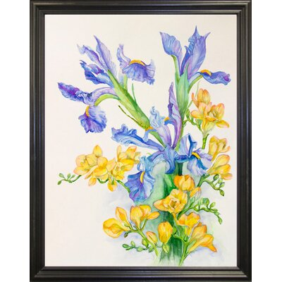 'Iris With Gold Fuscia' Print Format: Black Wood Grande Framed Paper