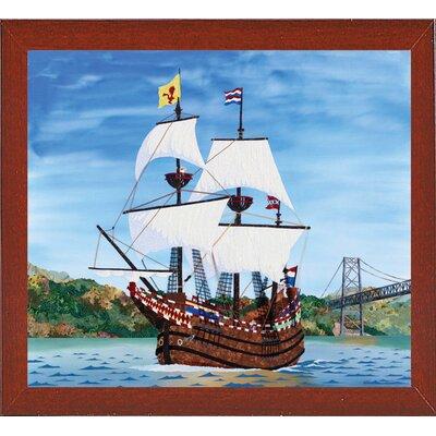 'Ship' Graphic Art Print Format: Red Mahogany Wood Medium Framed Paper