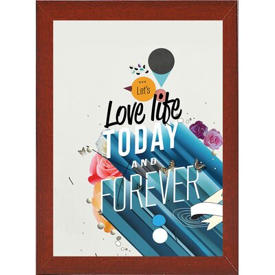 'Everything Forever' Graphic Art Print Format: Affordable Red Mahogany Medium Framed Paper