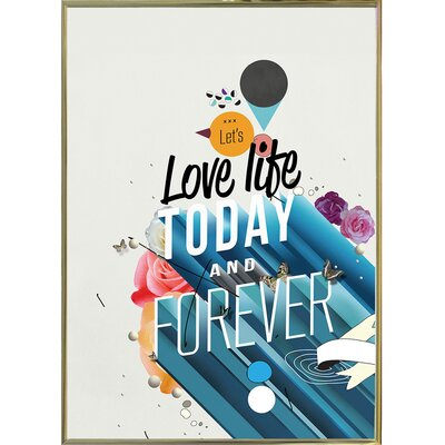 'Everything Forever' Graphic Art Print Format: Gold Metal Framed Paper