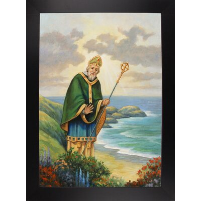 'St. Patrick' Graphic Art Print Format: Black Wood Large Framed Paper