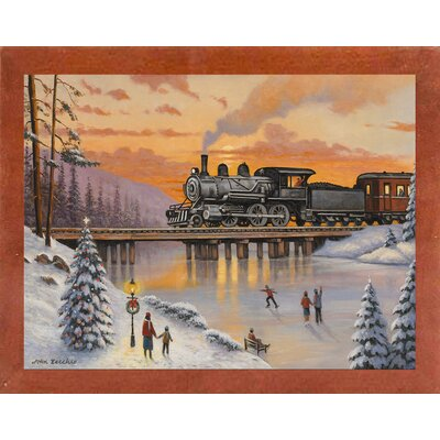 'Railroad on the Ice Bridge' Graphic Art Print Format: Canadian Walnut Wood Medium Framed Paper
