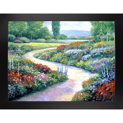 'Lakeside Path' Print Format: Black Wood Large Framed Paper