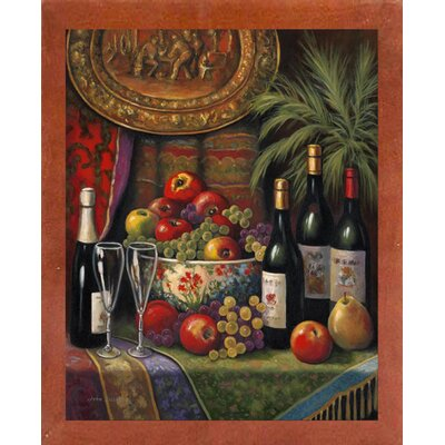 'Wine And Floral 1' Graphic Art Print Format: Canadian Walnut Wood Medium Framed Paper