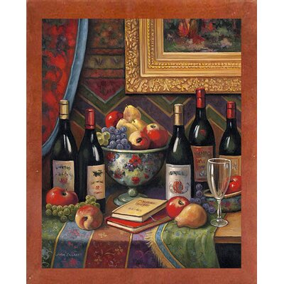 'Wine And Floral 2' Graphic Art Print Format: Canadian Walnut Wood Medium Framed Paper