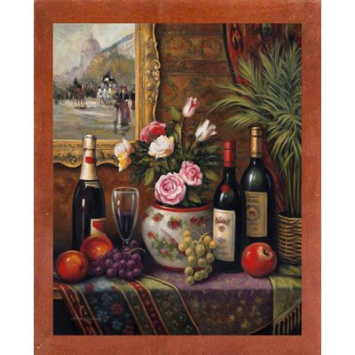 'Wine And Floral 3' Graphic Art Print Format: Canadian Walnut Wood Medium Framed Paper