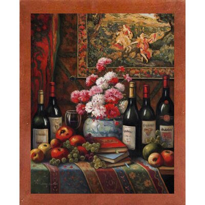 'Wine And Floral 4' Graphic Art Print Format: Canadian Walnut Wood Medium Framed Paper