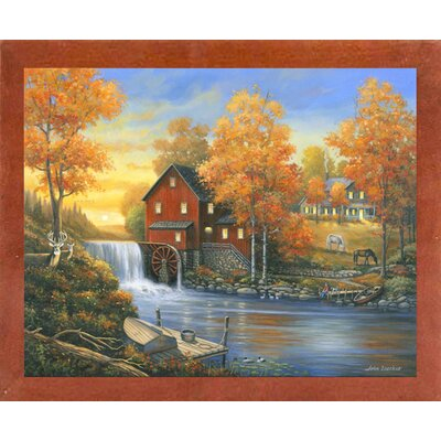 'Autumn Sunset At The Old Mill' Graphic Art  Print Format: Canadian Walnut Wood Medium Framed Paper