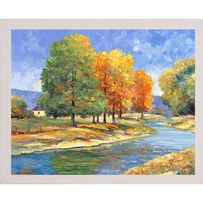 'New England Autumn' Graphic Art Print Format: White Wood Medium Framed Paper