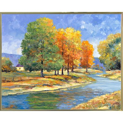 'New England Autumn' Graphic Art Print Format: Gold Metal Framed