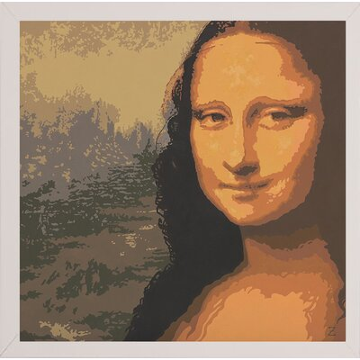 'Mona Liza' Graphic Art Print Format: White Wood Medium Framed Paper