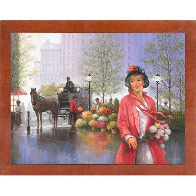 'Central Park Flower Market' Graphic Art Print Format: Canadian Walnut Wood Medium Framed Paper