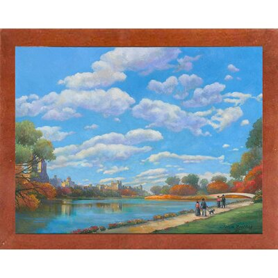 'Central Park Vista' Graphic Art Print Format: Canadian Walnut Wood Medium Framed Paper