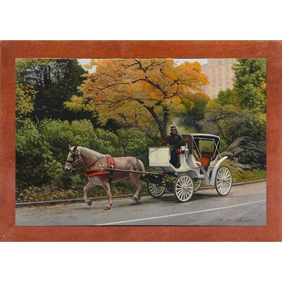'Carriage At Central Park' Graphic Art Print Format: Canadian Walnut Wood Medium Framed Paper