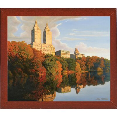 'Autumn in Central Park' Print Format: Red Mahogany Wood Medium Framed Paper