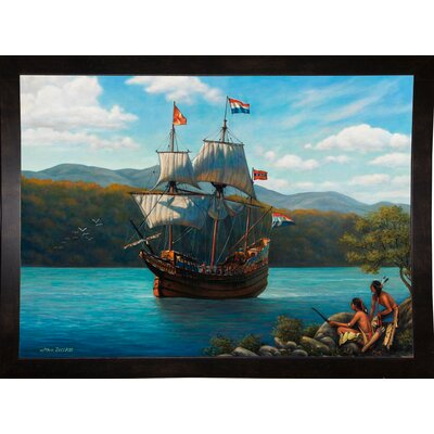 'Half Moon On The Hudson' Graphic Art Print Format: Black Wood Medium Framed Paper