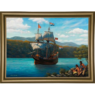 'Half Moon On The Hudson' Graphic Art Print Format: Bistro Gold Framed Paper