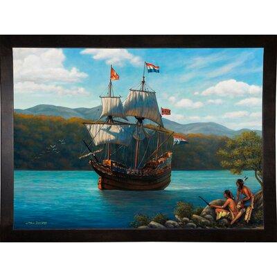 'Half Moon On The Hudson' Graphic Art Print Format: Cafe Espresso Wood Framed Paper