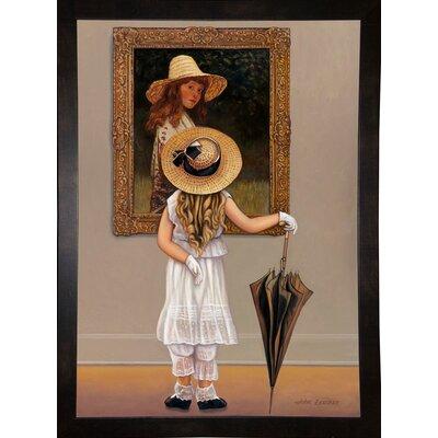 'Girl In Museum' Graphic Art Print Format: Black Wood Medium Framed Paper