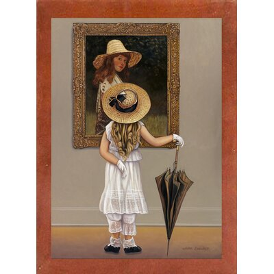 'Girl In Museum' Graphic Art Print Format: Canadian Walnut Wood Medium Framed Paper