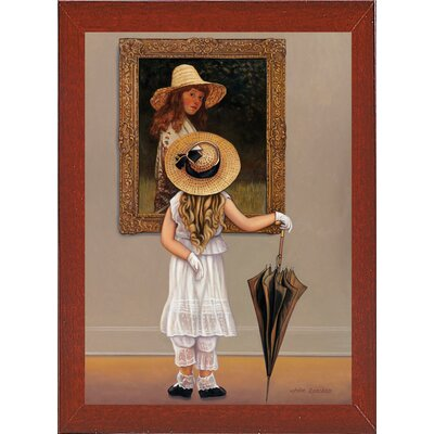 'Girl In Museum' Graphic Art Print Format: Red Mahogany Wood Medium Framed Paper