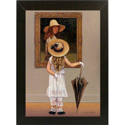 'Girl In Museum' Graphic Art Print Format: Brazilian Walnut Wood Medium Framed Paper